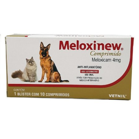 Anti-Inflamatório Meloxinew 4mg Cães e Gatos 10 Comprimidos Vetnil