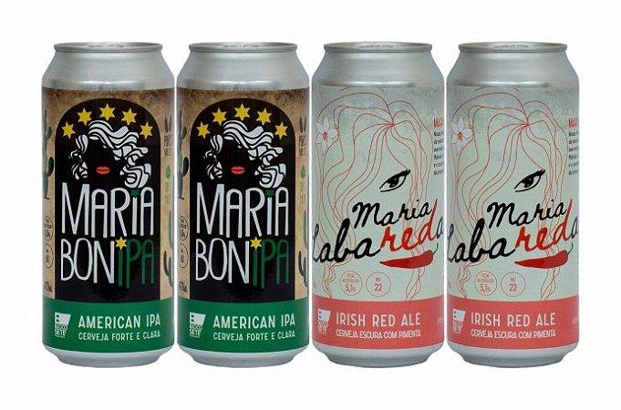 Pack 8: 2 latas da Maria BonIPA e 2 latas da Maria LabaREDa com Pimenta - 473ml cada