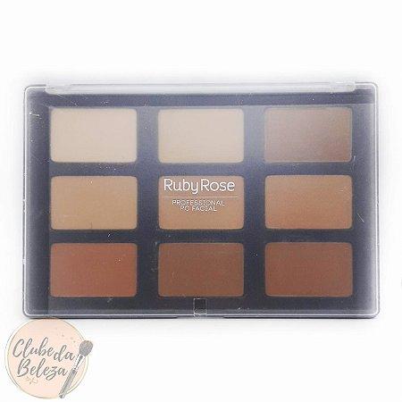 Paleta com 8 cores de pó facial e 1 bronzer - Ruby Rose