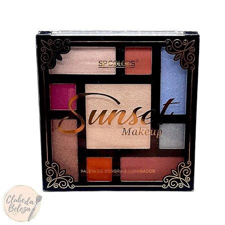 Paleta de Sombras e Iluminador Sunset Makeup - Sp Colors