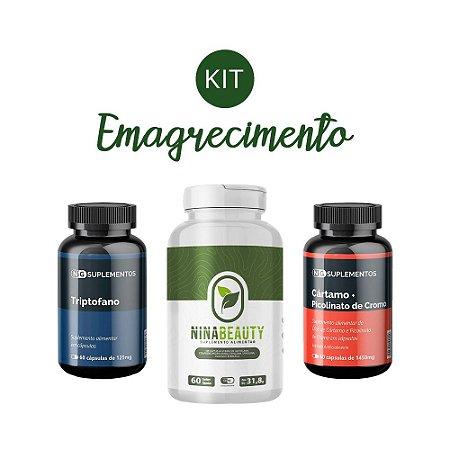 Kit Emagrecimento 4 Nina Beauty, Triptofano NG e Cártamo NG Suplementos