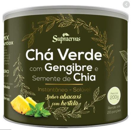 Chá Verde c/ Gengibre e Semente de Chia 200G - Sabor Abacaxi c/ Hortelã Supra Ervas