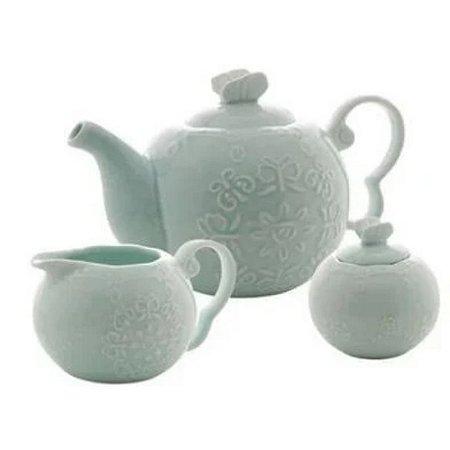 Conjunto para Chá Butterfly com 3 Peças Verde - Bon Gourmet