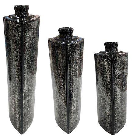 Conjunto de Vasos Black em Cerâmica com 3 Peças - Ana Maria