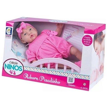 Boneca Bebê Reborn Pesadinho Ninos 44cm Rosa – Cotiplás
