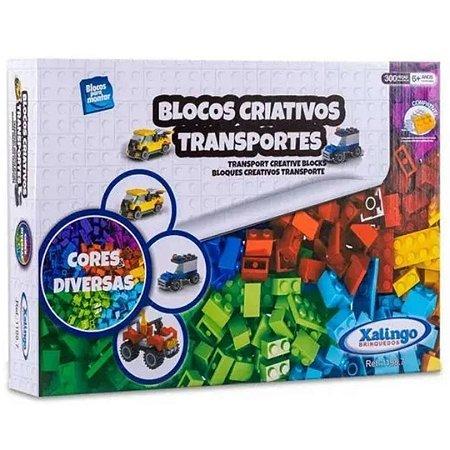 Blocos Criativos Transportes Infantil com 300 Peças Xalingo