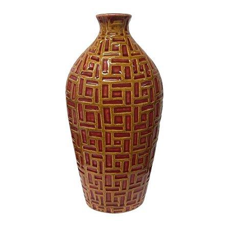 Vaso Decorativo Detalhado em Cerâmica 32cm - Vermelho