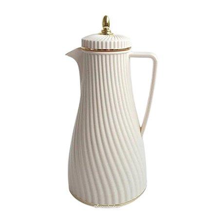 Garrafa Térmica Brianna com Alça 32cm Branco c/Dourado Craw