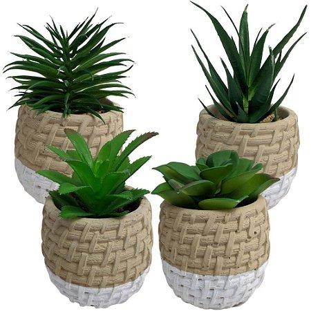 Conjunto com 4 Vasos Cerâmica Bege e Branco com Suculenta