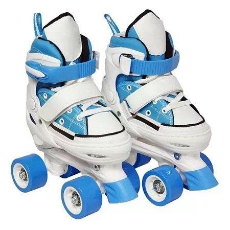 Patins Infantil 4 rodas Ajustável com freio Azul - DM Toys