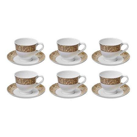Jogo de Xícaras Cris Para Chá em Porcelana 170ml - 12 Peças