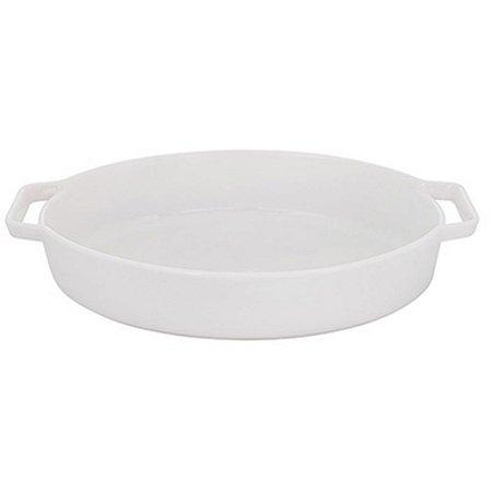 Travessa Refratária Oval em Porcelana 35cm Branco 2,2L