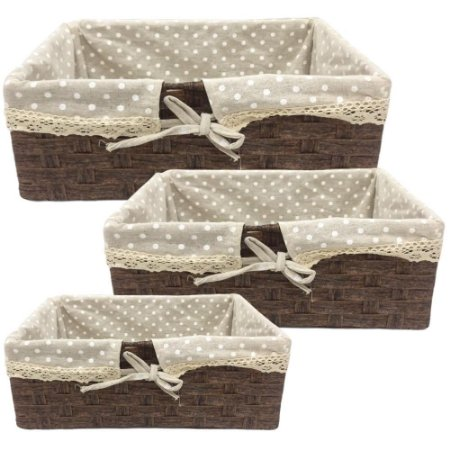 Conjunto de Cestos Decorativos Poá em Tecido – 3 Peças