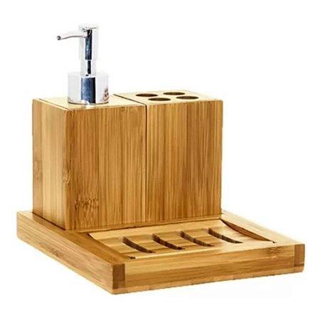 Kit para banheiro 4 peças Ecokitchen Bambu - Mimo Style