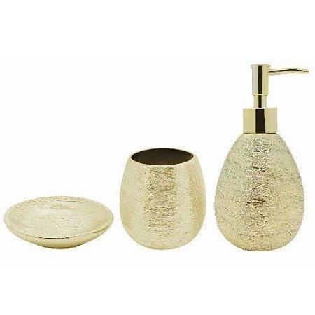 Conjunto para Banheiro Lunar 3 peças Dourado - Mimo Style