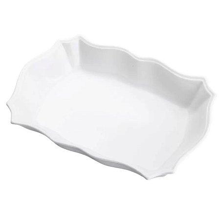 Travessa Porcelana Retangular Branca Bon Gourmet - Rojemac