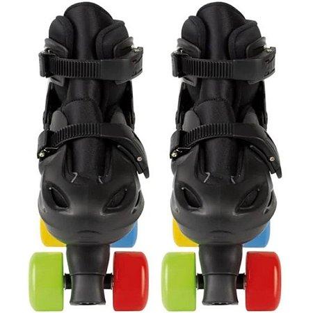 Patins Colors Ajustável com 4 Rodas 34-37 Preto - Mor