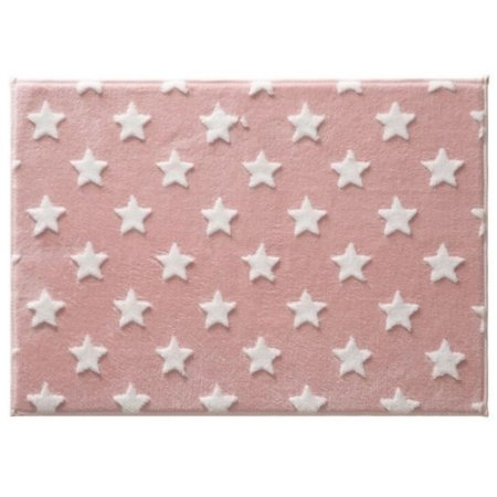 Tapete Infantil Rosa com Estrela 100x70 cm Mimo - Jolitex