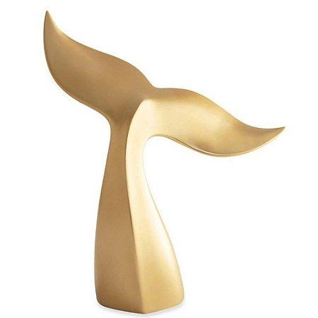 Escultura Decorativa Baleia Dourada em Poliresina 40cm