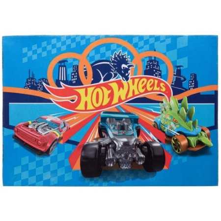Tapete Infantil Hot Wheels em Poliéster 70x100cm - Jolitex