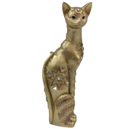 Estatueta Gato Dourada 41cm Resina - Gold Roda