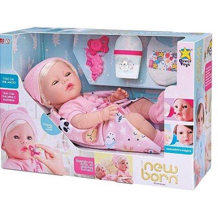 Boneca Reborn Menina com Cabelo com 6 Acessórios New Born