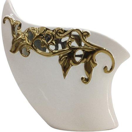 Vaso Decorativo Branco/Dourado 26cm Cerâmica -HI 89 COMERCIO