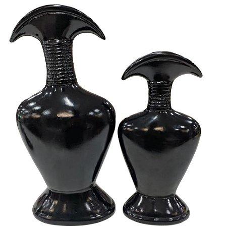 Conjunto de Vasos Preto Brilho em Cerâmica 2 Peças