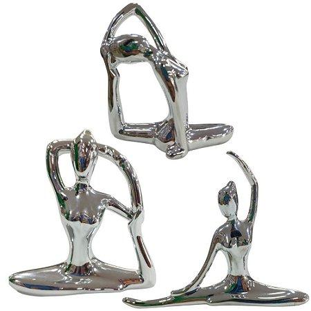 Kit de Bailarina em Porcelana 3 Peças Prata Metalizado