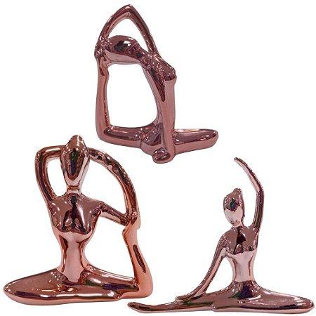 Kit de Bailarina em Porcelana 3 Peças Rose Metalizado