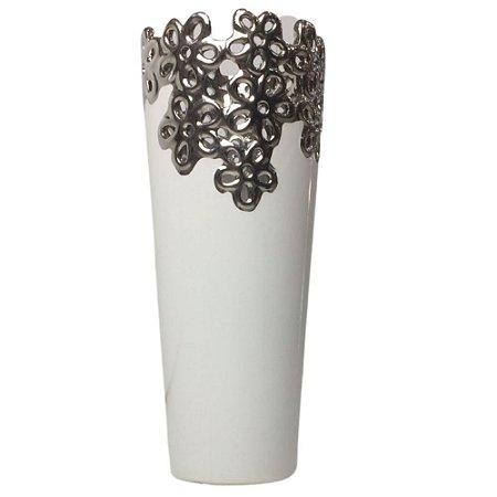 Vaso Decorativo Branco/Prata com Flores 27,5cm - FREECOM