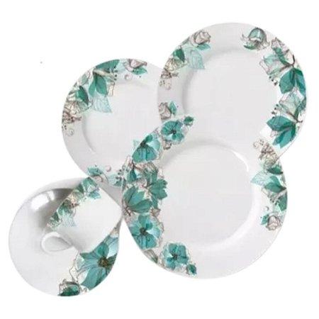 Aparelho de Jantar 20 Peças Cerâmica Branco Floral - WELLMIX