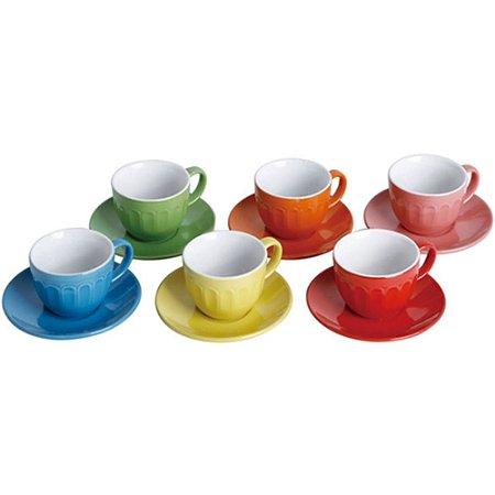 Jogo de Xícaras com Pires Colors p/Chá 210ml 12 Peças Class