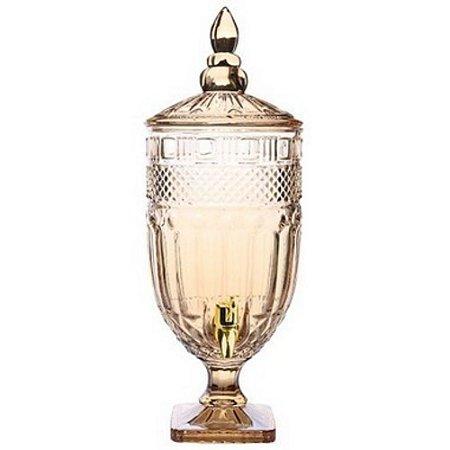 Suqueira Clássica com pé em cristal ecológico 4,9l cor ambar
