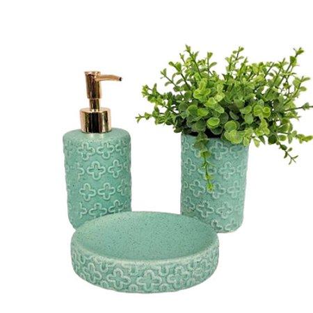 Kit Banheiro Menta Floral Saboneteira Dispenser Escova 3 Peças