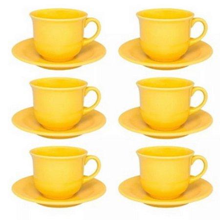 Conjunto de Chá 12 PeçasFloreal Amarelo - Oxford