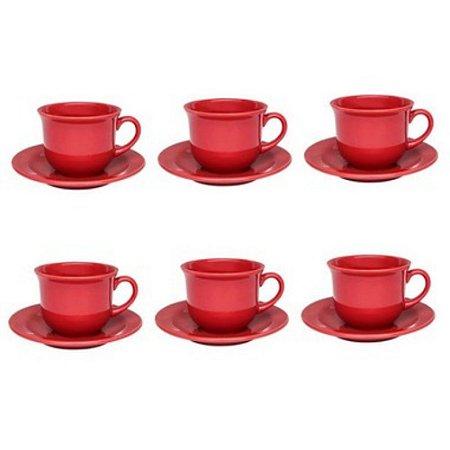 Conjunto de Chá Pires Vermelho Oxford Floral Com 12 Peças