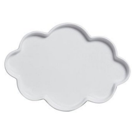 Bandeja Nuvem Branca Cerâmica 34cm