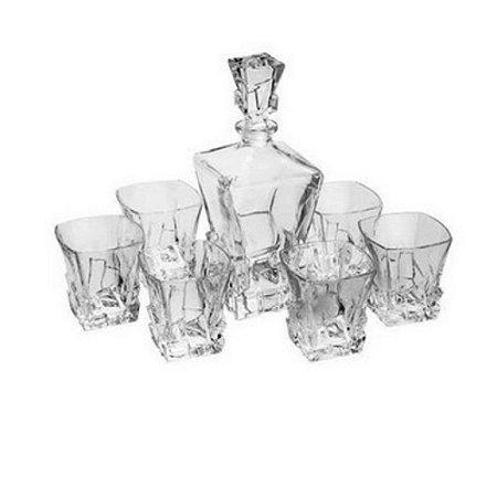 Jogo com 7 Peças para Whisky em Vidro - TECNOSERV