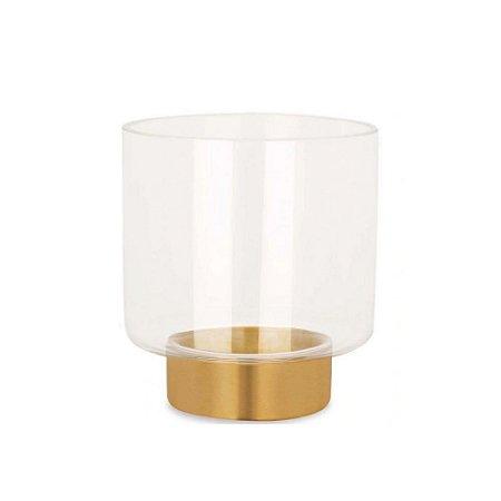 Vaso em Vidro e Latão/Metal, Mart, Incolor – 13,2cm