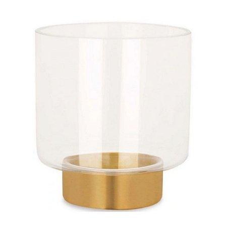 Vaso em Vidro e Latão/Metal, Mart, Incolor - 17cm