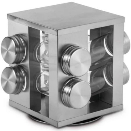 Porta Condimentos Giratório Aço Inox 8 peças - MIMO STYLE