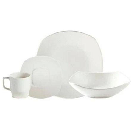 Aparelho de Jantar Branco 16 Peças em Cerâmica - Linha Block