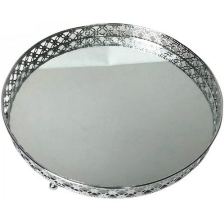 Bandeja Metal c/Espelho Round x Edge - Prata - Urban