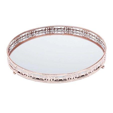 Bandeja redonda bronze de metal com espelho - Rojemac