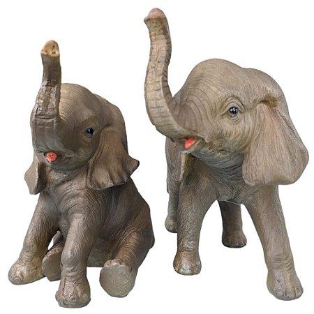 Jogo de Elefantes Realistas Decorativo Resina 2 peças 15cm