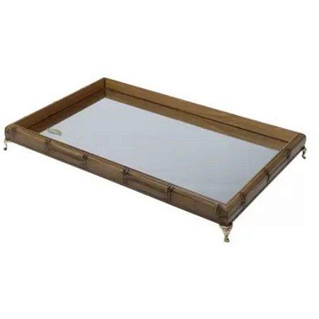 Bandeja de Bambu com Espelho e Pé Niquelado Dourado 29cm