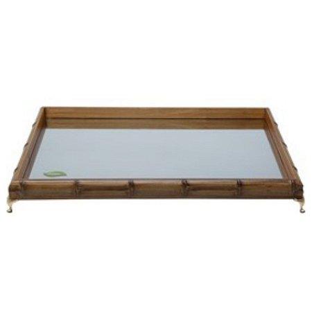 Bandeja de Bambu com Espelho e Pé Niquelado Dourado 50cm