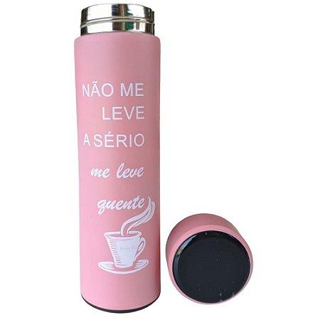 Garrafa Térmica Inox  c/Termômetro 470 ml Rosa – Golden Rio