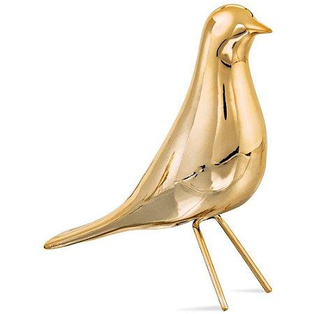 Pássaro Decorativo Dourado em Cerâmica 23cm - Mart